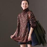 米可可 R1711B 通勤韩版宽松显瘦蕾丝边中长款加绒印花卫衣女冬