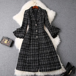 2018冬季女装新款西装领蕾丝喇叭袖修身显瘦粗花呢大衣百搭外套女