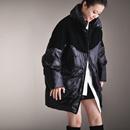 Y1022 韩版毛织拼亮面大兜立领保暖加厚羽绒服女中长款2019时尚米可可