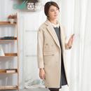 茵曼2016冬装新款简约净色绣花点缀中长呢大衣呢外套1864321116