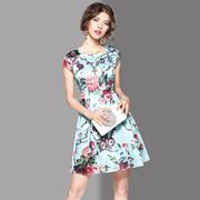 2017夏季新款时尚气质圆领印花短袖A字裙修身短裙女显瘦连衣裙夏