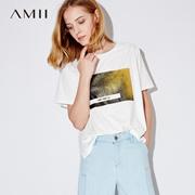 Amii[极简主义]夏装2017新款女字母印花圆领短袖纯棉T恤11772755