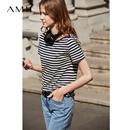 Amii极简洋气时尚心机T恤女2019夏季新款撞色一字领短袖条纹上衣