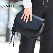 Amii[极简主义]2016秋冬新款休闲羊皮斜挎流苏拉链皮包女11683593
