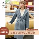 Amii极简轻奢时尚全羊毛双面呢女2019秋冬新款雾霾蓝毛呢外套大衣