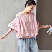 米可可 C1053 文艺大码拼接圆领短袖抽绳后开身纯棉衬衫女 2019
