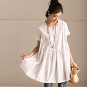 C0802A 韩版纯棉宽松高腰捏褶娃娃款V领套头短袖衬衫女 米可可