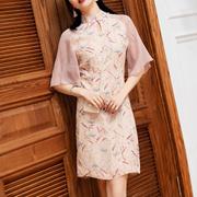 新式少女旗袍夏季2019新款雪纺年轻印花改良版短款19303