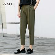 Amii 极简帅气通勤chic港味ulzzang显瘦休闲九分裤2018春新直筒裤