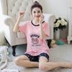 17年新款夏季韩版卡通针织棉睡衣舒适女士休闲家居服套装