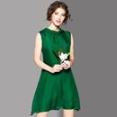 2017夏季新款女装时尚气质纯色宽松真丝系领A字裙大码无袖连衣裙