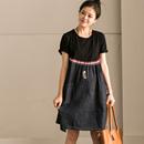 Q8710A 韩版拼接牛仔A字高腰圆领套头短袖中长款连衣裙 米可可