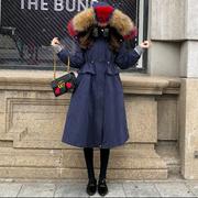 2017冬新款白鸭绒彩色貉子毛领韩版显瘦过膝中长款