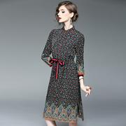 2017春季新款欧美女装翻领七分袖复古印花抽绳长款开叉修身连衣裙
