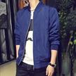 燊林男装 韩版休闲时尚纯色印花立领修身男式长袖夹克 H82TT