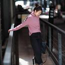 T2955 2019洋气细螺纹弹力显瘦长袖T恤女 内搭高领打底衫女秋冬米可可