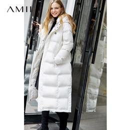 Amii极简时尚90白鸭绒羽绒服女2018冬季新款宽松连帽印花长款大衣