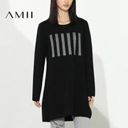Amii[极简主义]2016冬季竖条纹针织套头圆领中长款毛衣女11673291