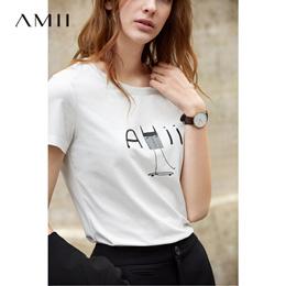 Amii极简ulzzang港风白色短袖T恤女潮2019春新百搭字母圆领上衣