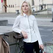 Amii[极简主义]2016秋新品纯色修身大码简约长袖女白衬衫11641755