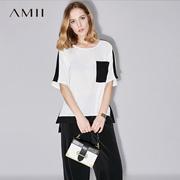 Amii[极简主义]2017夏装新款女大码休闲拼色开衩摆雪纺衫11772552
