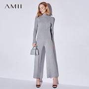 Amii[极简主义] 2017秋装新款直筒橡筋九分阔腿时尚套装11744693