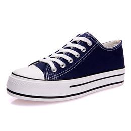 四季款 帆布硫化鞋 厚底4cm  女士纯色休闲鞋