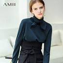 Amii极简港风ins高领小领带直筒长袖毛衣2018秋新纯色休闲毛衣