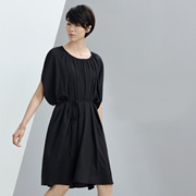 【秒杀】Amii[极简主义]夏新品圆领皱褶腰带两件套连衣裙女11681005