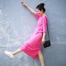 米可可 Q3203A 通勤简约圆领套头棉T恤罩衫纯色短袖中长连衣裙